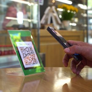 QR code cashless payment. Scan to pay system. Business or techno