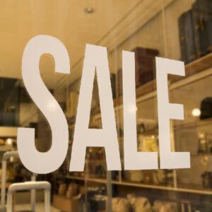 Word SALE on a shop window